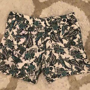 LOFT patterned linen shorts